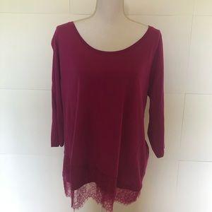 Lane Bryant cranberry shirt top women's 14/16